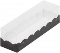Коробка для макарон с крышкой (черная) 190/55/55мм
