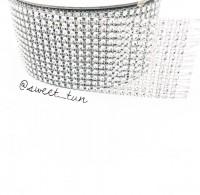 Лента со стразами (серебро) 9.14м*6 см