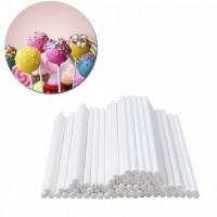 Палочки для кейк-попсов бумажные 10см белые (50шт)
