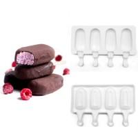 """Форма для мороженого силикон """"Эскимо"""" 4 ячейки 7х3,8 см"""
