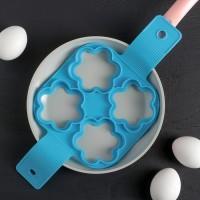 """Форма для яичницы и блинов силикон """"Цветы"""" 4 ячейки 35х16,5х1,5 см"""