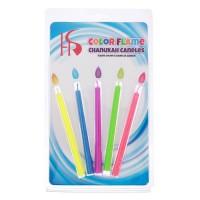 """Набор свечей в торт """"Цветное пламя"""" гиганты 10,5*0,9 см (5 шт)"""