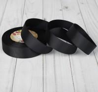 Репсовая лента 25мм (черная)32м