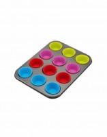 Форма для выпечки металл (противень) для 12 кексов с силикон. капсулами 5,5х3 см