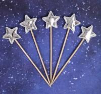 """Топпер """"Звезда"""" цвет серебро, набор 5шт 14см"""